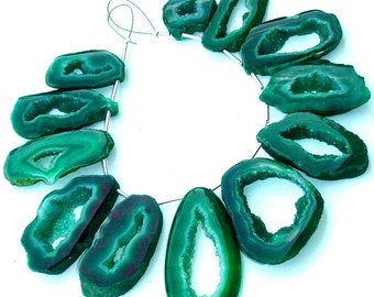 Full 8 Inch Long Strand, Amazing Rare GREEN Druzy Slices Briolettes, AAA Quality,Both Size Polished,30-40mm Size,Great Item