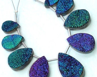 AAA Quality TITANIUM Druzy Long Pear Shaped Briolettes,15-22mm Size,Great Item,Amazing Quality
