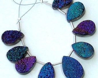 AAA Quality TITANIUM Druzy Long Pear Shaped Briolettes,12-22mm Size,Great Item,Amazing Quality