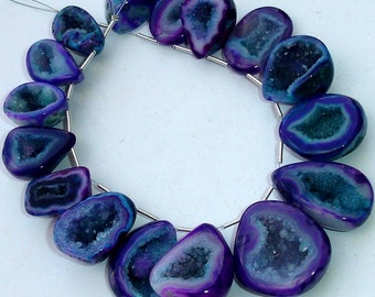 1/2 Strand, Amazing Rare Bi-Purple Druzy Slices Briolettes, AAA Quality,Both Size Polished, 20-30mm Size,Great Item