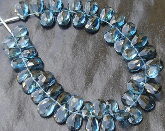 11 Larger Pieces,Promotional Price, AAA Flawless London Blue Topaz faceted PEAR Briolettes,9-10mm Pear Briolettes.