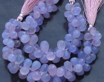 6 Inches Strand, SUPERB,LAVENDAR Blue Chalcedony Micro Faceted Dtops Briolettes, 10-12mm Long size,GORGEOUS.
