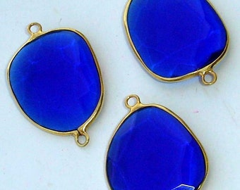 925 Sterling Silver, COBALT Blue Quartz, 24k Gold Plated Connector,ONE Piece of 20-25mm,SUPERB