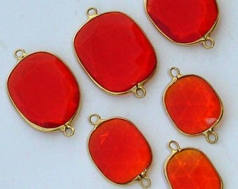 925 Sterling Silver, Fire Opal Quartz, 24K Gold Plated Connector,ONE Piece of 20-25mm