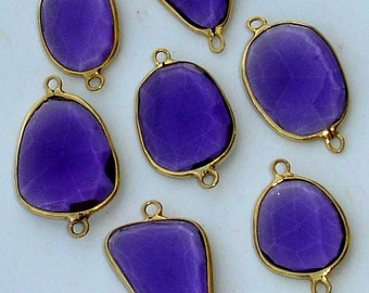 925 Sterling Silver, Purple Quartz, 24K Gold Plated Connector,ONE Piece of 20-25mm