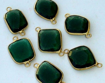925 Sterling Silver, Chrome Green Quartz, 24K Gold Plated Connector,ONE Piece of 13-18mm