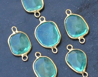 925 Sterling Silver, Seafoam Green Quartz, 24K Gold Plated Connector,ONE Piece of 13-16mm