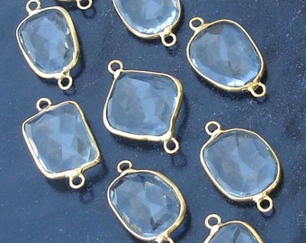 925 Sterling Silver, Aquamarine Blue Quartz, 24K Gold Plated Connector,ONE Piece of 15-18mm