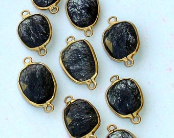 925 Sterling Silver, BLACK RUTILATED Quartz, 24K Gold Plated Connector,ONE Piece of 13-16mm