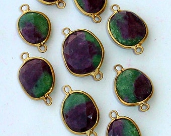 925 Sterling Silver, RUBY ZOISITE, 24K Gold Plated Connector,ONE Piece of 13-16mm