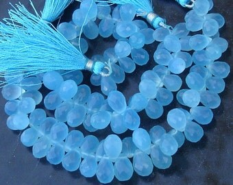 NEW Colour, Full 6.5 Inches Strand, SWISS Blue Chalcedony Micro Faceted Drops Briolettes, 8-10mm Long size,GORGEOUS.