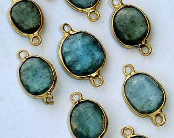 925 Sterling Silver, Amazing Rare MOSS AQUAMARINE, 24K Gold Plated Connector,ONE Piece of 12-15mm