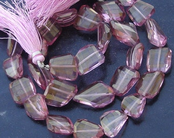 New Stock, 8 Inch Strand Mystic PINK Quartz Faceted Nuggets, 14-15mm Long,Manufacturers Price
