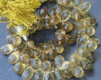 New Arrival, 1/2 Strand, BEER Quartz Micro Faceted Drops Shape Briolettes, 7-10mm Size, Best Quality