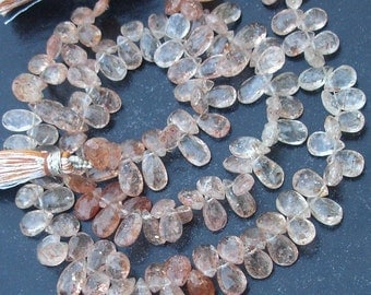 1/2 Strand,,Gorgeous Sparking Shaded Sunstone Faceted PEAR Shape Briolettes, 7-8mm Long,Great Price Item