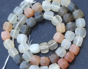 New Arrival, Full 8 Inch Strand, MULTI MOONSTONE Faceted 3D Box Shape Briolettes, 6-7mm Size,Unique Colour