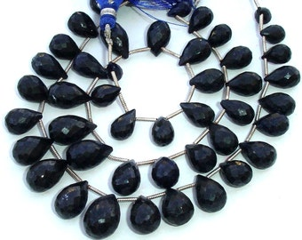 8 Inch Full Strand, AAA Quality Unique Natural BLUE SAPPHIRE Faceted Drops Shape Briolette, 9-12mm,Great Value Item