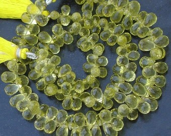7 Inch Strand, AAA Quality Green Lemon Quartz Micro Faceted Drops Shape Briolettes, 8-10mm Long,Great Quality