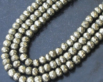 14 Inch Long Strand PYRITE Faceted Rondells,6-6.5mm Long Great Price Rare Item,Lowest Price for AAA Quality