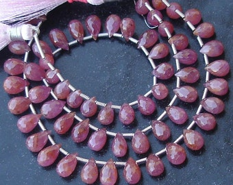 New Arrival, 1/2 Strand Rare PINK SAPPHIRE Faceted Drops Shape Briolettes, 7-8mm Larger Size,Great Price