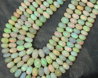 1 Strands, Welo Ethiopian Opal Smooth Rondells,4-5mm, , Amazing Inside Fire Finest Quality