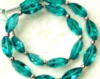 New Arrival,8 Inch Long Strand, PARAIBA BLUE QUARTZ Faceted Cardamom Fancy Shaped Briolettes,12mm Long,Great Price Amazing Item