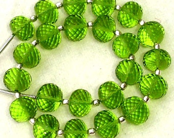 New Arrival,8 Inch Long Strand, PARROT GREEN QUARTZ Micro Faceted Rondells,8mm Long,Great Price Amazing Item