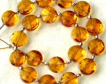 New Arrival,8 Inch Long Strand, MADEIRA QUARTZ Faceted Flat Coin Shape Briolettes,8mm Size,Great Price Amazing Item