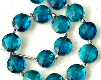 New Arrival,8 Inch Long Strand, LONDON BLUE QUARTZ Faceted Flat Coin Shape Briolettes,8mm Size,Great Price Amazing Item