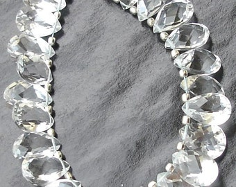 ROCK CRYSTAL Quartz , Full Strand,11-12mm, AAA Quality, Faceted Cut Stone Pear Shaped Briolettes,Finest Quality