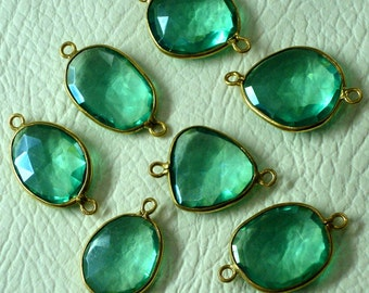 925 Sterling Silver, Seafoam Green Quartz, 24K Gold Plated Bazel Connector,ONE Piece of 14-16mm