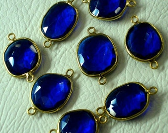 925 Sterling Silver, Kashmir BLUE SAPPHIRE Quartz, 24K Gold Plated Bazel Connector,ONE Piece of 14-16mm