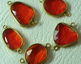 925 Sterling Silver, FIRE OPAL Quartz, 24K Gold Plated Bazel Connector,ONE Piece of 15-20mm