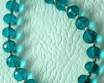 8 Inch Long Strand, PARAIBA BLUE QUARTZ Micro Faceted Rondells,6mm Long,Great Price Amazing Item