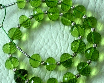 8 Inch Long Strand, PARROT GREEN QUARTZ Micro Faceted Rondells,6mm Long,Great Price Amazing Item