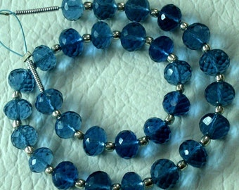 8 Inch Long Strand, SAPPHIRE BLUE QUARTZ Micro Faceted Rondells,6mm Long,Great Price Amazing Item