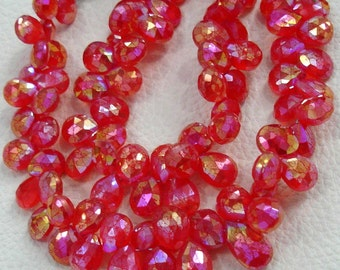 1/2 strand Strand,VERY-FINEST- MYSTIC Fanta Orange Chalcedony Faceted Pear Briolettes, 10-11mm Long size.