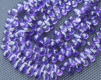 8 inch-VERY-VERY-FINEST Purple Amethyst Faceted Drops Shape Shape Briolettes,6-11mm Size,.Great Price Item