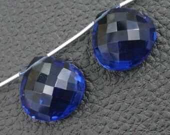 18X18mm, One Matched Pair KASHMIR BLUE Quartz, Truly Rare Heart Shaped Briolettes,Amazing Matched Pair