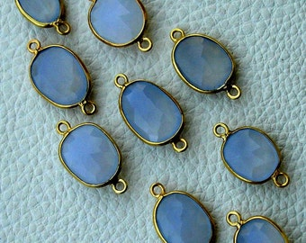 925 Sterling Silver, NATURAL BLUE CHALCEDONY, 24k Gold Plated Bazel Connector,One Piece of 12-16mm
