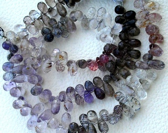 8 Inch Strand, Multi Natural-Super Finest AAA Quality, Moss AMETHYST Faceted DROPS Briolettes, 7-10mm aprx.Super,Very Fine