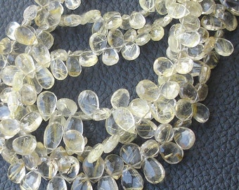 8 Inch Strand,GOLDEN RUTILATED QUARTZ Faceted Pear Shape Briolettes, 7-10mm Size,Great Quality at Low Price