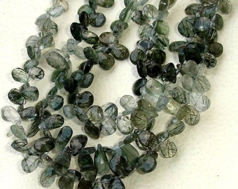8 Inch Strand, GREEN RUTILATED QUARTZ Faceted Pear Shape Briolettes, 8-9mm Size,Great Quality at Low Price