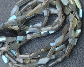 10 Inch Strand, BLUE FLASHY Labradorite Faceted Nuggets, 10-14mm Size,Great Quality at Low Price