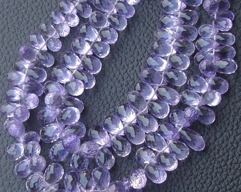 1/2 Strand,AAA Quality PINK AMETHYST Micro Faceted Drops Shape Briolettes,8-10mm size,Superb Quality
