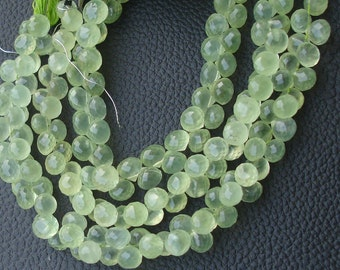 8 Inch Long Strand,AAA Quality PREHNITE Micro Faceted Onions Shape Briolettes,Superb Item at Low Price