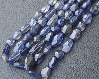 11 Inch Strand, WATER SAPPHIRE IOLITE Faceted Nuggets Shape Briolettes, 10-12mm Size,Great Quality at Low Price