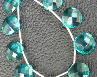 10 Pcs Set, PARAIBA BLUE Quartz Faceted Heart Shape Briolettes,12x12mm Long, 5 Matched Pairs,Superb Item,Wholesale Price