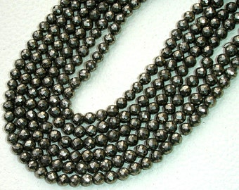6x12 Inch Long Strand,Superb PYRITE Micro Faceted Balls Beads,4.5-5mm size,Great Item at Low Price