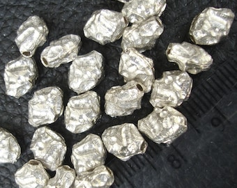 3 Pieces Silver Nuggets, 12x8mm Round Beads ,925 Sterling Silver,Jewellery Making Findings, Superb Finished Pieces.